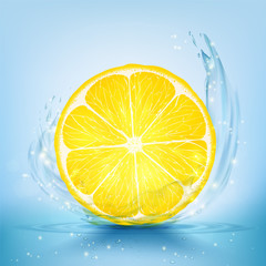 Slice of lemon and juice with splashes and drops.