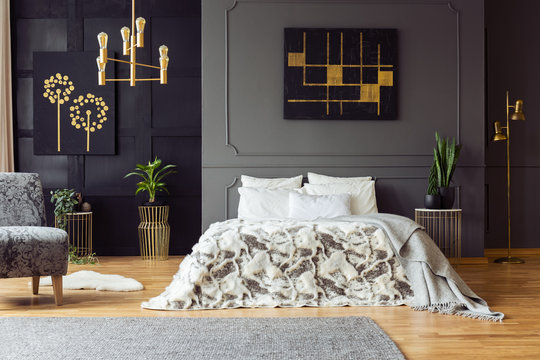 Black and gold poster on grey wall above bed in bedroom interior with plants and armchair. Real photo
