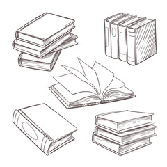 Hand drawn vintage books. Sketch book piles. Library, bookshop vector retro design elements isolated on white background