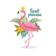 Cute cartoon pink flamingo queen with crown. Sweet dreams girly vector greeting card, fashion little princess t-shirt design