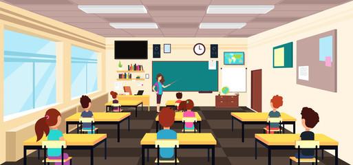 Teacher at blackboard and children at school desks in classroom. Cartoon vector illustration