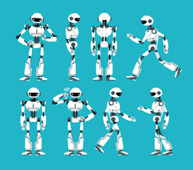 Robot character. Cartoon robotic mechanism, humanoid vector set