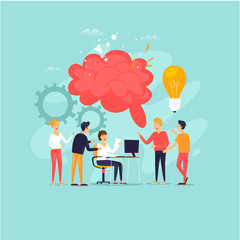 Teamwork, brainstorming, a group of people working together, developing ideas. Flat design vector illustration.