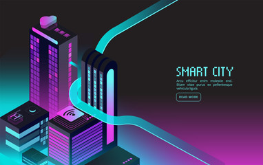Smart building. Intelligent houses in night city. Augmented reality 3d isometric abstract futuristic vector concept