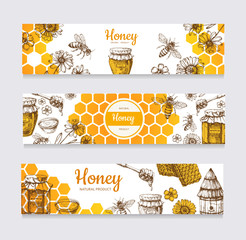 Honey banners. Vintage hand drawn bee and honeyed flower, honeycomb and hive vector labels