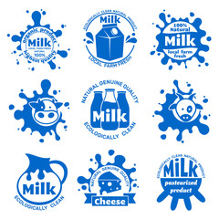 Fresh farm cow milk labels. Healthy dairy blue vector emblems for food packaging