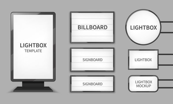 Light boxes. Retail lighting 3d billboards, retro cinema signs. Outdoor signage boards vector template
