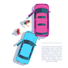 Car traffic accident. Crashed cars and people on road top view. Insurance vector concept