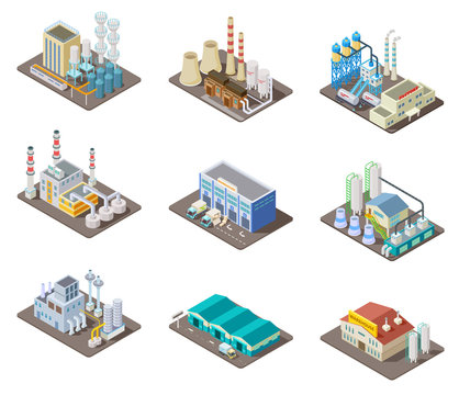 Isometric factory set. 3d industrial buildings, power plant and warehouse. Isolated vector collection