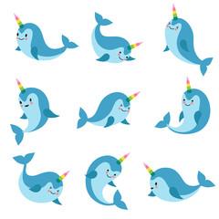 Cute cartoon anime unicorn narwhal. Funny kawaii baby whale vector characters