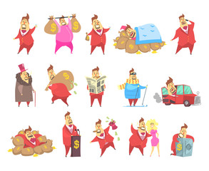 Fat rich millionaire men in red suit, funny capitalist character in different situations vector Illustrations on a white background