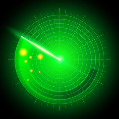 Vector Illustration digital realistic abstract military search system radar with targets in action on monitor. Navigation interface, Navy sonar.