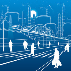 Urban infrastructure illustration. People walking at the street. Train move on bridge. Illuminated highway. Factory thermal power plant. Nnight city. White lines on blue background. Vector design art