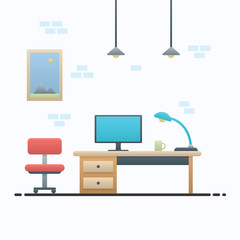 Workspace layout and interior with set of furniture