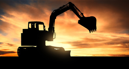 Excavator at sunset