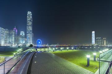 Modern office buildings in Hong Kong city at night