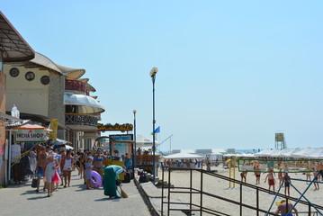 Promenade promenade of the iron port on the beach of the Black Sea