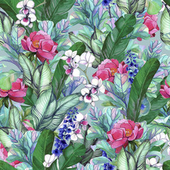 .Pattern with tropical banana leaves and peony flowers, orchids. Seamless botanic pattern with foliage in vintage style.