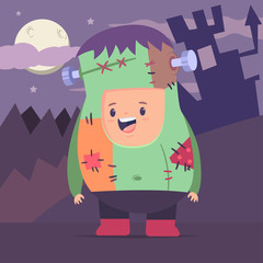 Cute boy in a zombie costume on the background of the moon, castle and forest. Halloween vector cartoon flat kid character.
