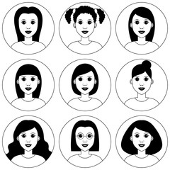Beautiful young girls avatar set. Pretty girl with different haircut style. Black and white vector clipart illustration isolated on white background