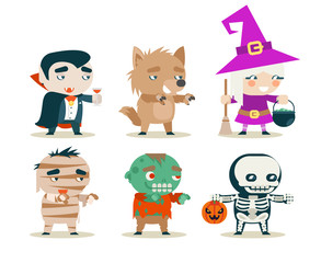 Halloween children costume kids masquerade fantasy RPG game party characters icons set vector illustration