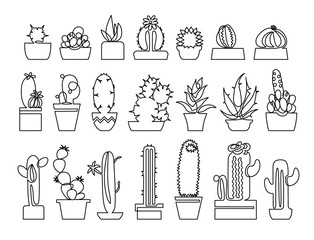Continuous line drawing of Cactus and succulent icons set.