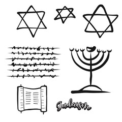 Set of hand-drawn Jewish symbols