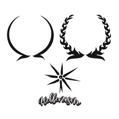 Set of hand-drawn Hellenism symbols