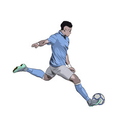 Football player kicking ball, soccer player in light blue jersey running with ball. Isolated vector illustration, side view, profile. Team sport