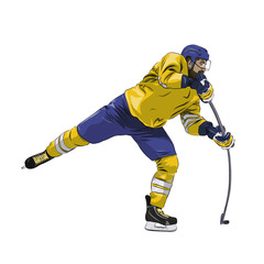 Offensive ice hockey player shooting puck, isolated vector illustration. Winter team sport. Yellow jersey