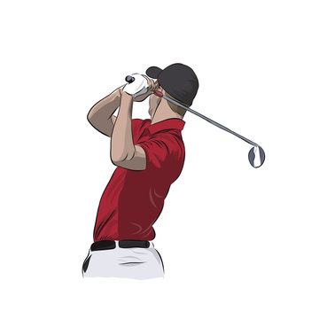 Golf player in red polo, isolated vector illustration. Golfer athlete