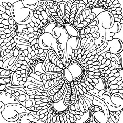 Psychedelic pattern. For meditation, soothing, twisting elements. Doodle drawn by hand