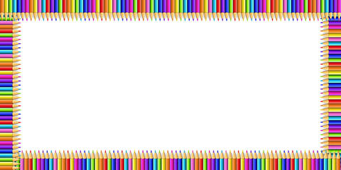 Vector colorful rectangle border made of pencils on notebook page background