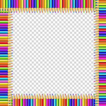 Vector square frame made of multicolored pencils on transparent background