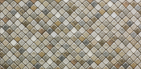 Photo sur Toile Géométriquement ceramic tile, abstract mosaic ornamental geometric pattern
