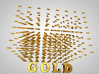 a cloud of gold bullion on the text of gold, 3d rendering