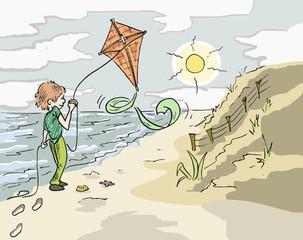 Met de vlieger op het strand buiten spelen in de frisse lucht