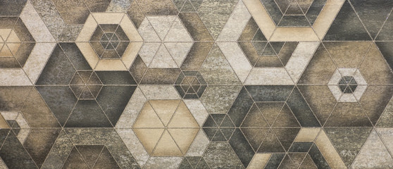 Foto op Canvas Geometrisch ceramic tile, abstract mosaic ornamental geometric pattern