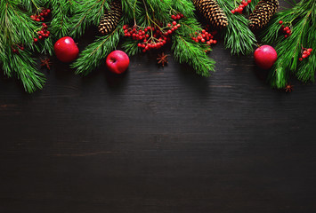 Christmas natural decor background, flat lay