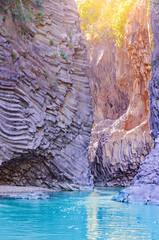 View of Alcantara Gorge. Sicily.
