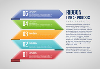 Ribbon Linear Process Infographic Layout