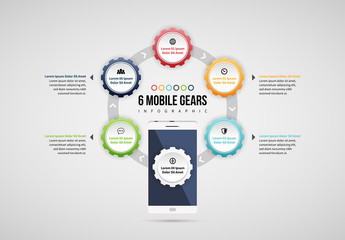 Six Mobile Gears Infographic Layout