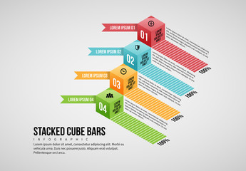 Stacked Cube Bars  infographic Layout