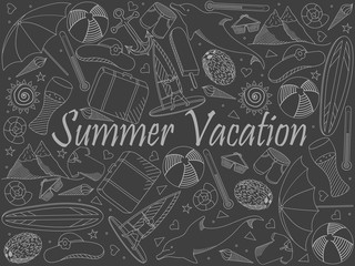 Line art objects piece of chalk. Theme of travel, summer vacation. Vector over white background