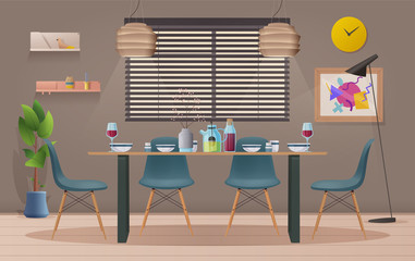 Dinning room interior with furniture. Cartoon vector illustration