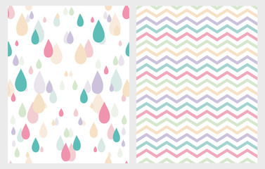 Abstract Vector Pattern Set. Colorful Rain Drops on a White Background. Multicolor Chevron on a White Background. Cute Simple Seamless Design.