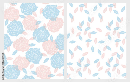 hand drawn floral vector patterns set light pink and serenity blue