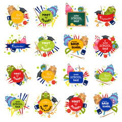 Set of Welcome back to school badge