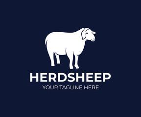 Pet sheep or agricultural animal, logo design. Ranch, farm, animal breeding, stock raising and animal husbandry, vector design and illustration