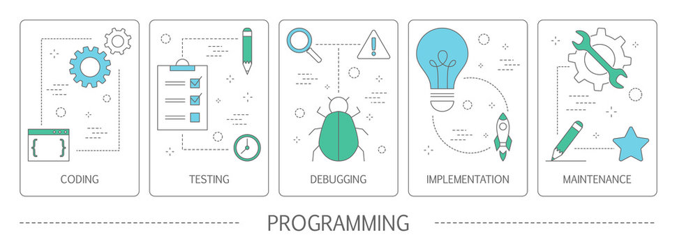 Set of programming vertical banners